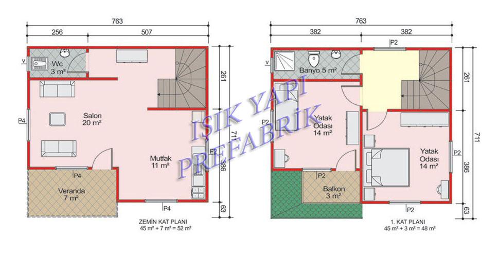 100 m2 İki Katlı Prefabik