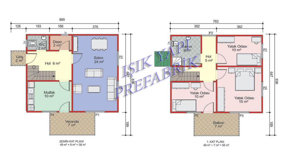 114 m2 İki Katlı Prefabrik