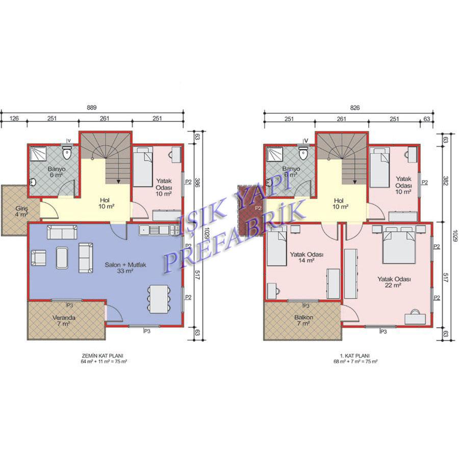 150 m2 İki Katlı Prefabrik