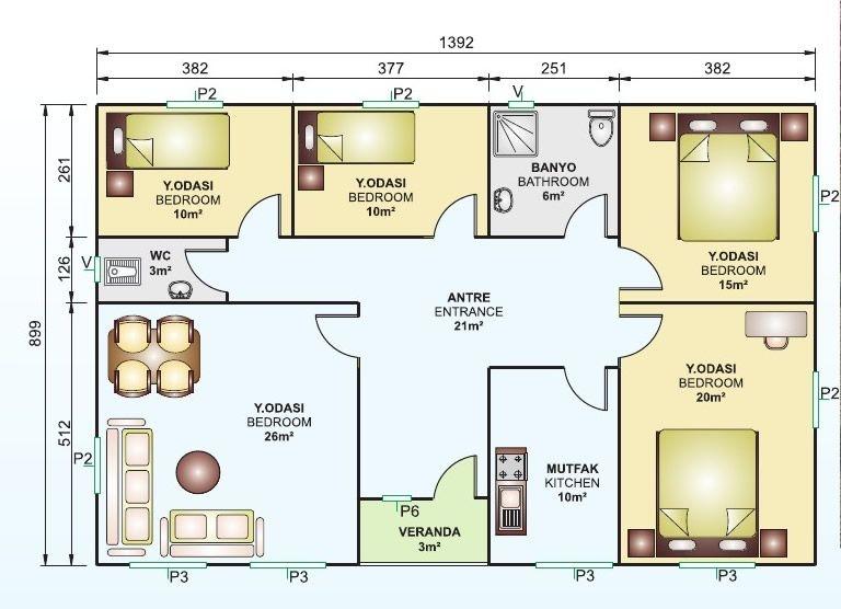 tek katlı 125 m2